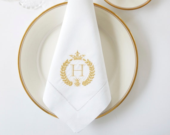 BEE & CROWN Monogram Embroidered Dinner Napkins, Linen Towels, cloth napkins