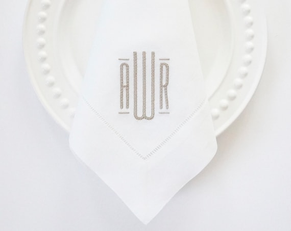 MODERN SOPHISTICATE MONOGRAM, Table Linens and Towels, Wedding Receptions