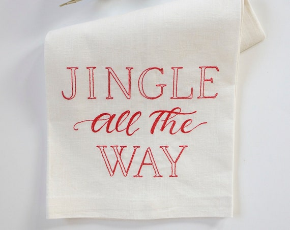JINGLE ALL The WAY towels, Christmas hand towels, Hostess Gift, Kitchen, Bath