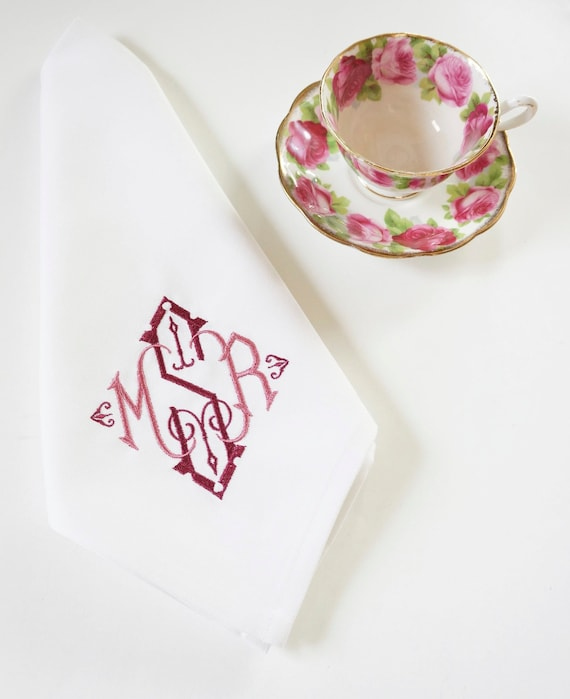 DINNER PARTY FONT Monogrammed Embroidered Custom Napkins, Towels and Linens, Wedding Napkins