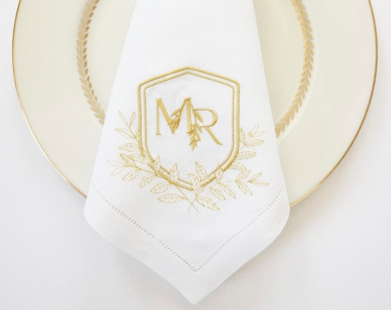 CLASSIC TUSCAN CREST Monogram on Embroidered Linens, Custom Cloth Wedding Napkins, Personalized towels and napkins