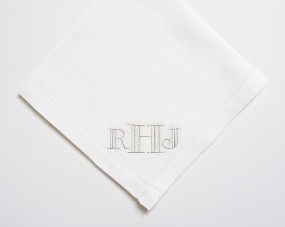 MENS GATSBY font Embroidered Monogrammed Handkerchief