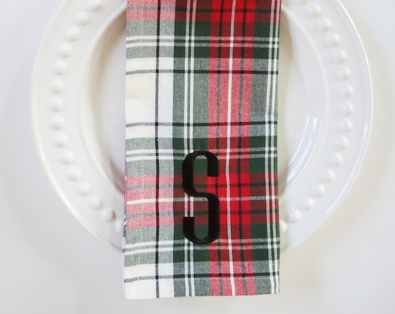 HOLIDAY PLAID and Scottie Dog Embroidered Cotton Hand Towels and Monogrammed Dinner Napkins, Christmas, Red and Green Plaid