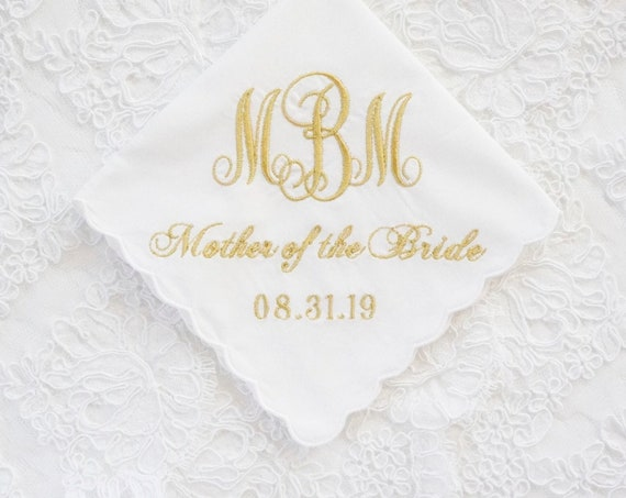 CUSTOM LADIES WEDDING Mother of the Bride, Mother of the Groom, Embroidered Monogrammed Handkerchief, Personalized Custom Handkerchief