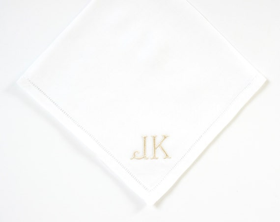 MENS CLASSIC font Embroidered Monogrammed Handkerchief, Father of the Bride Gift, Wedding Handkerchief, Monogram Pocket Square.