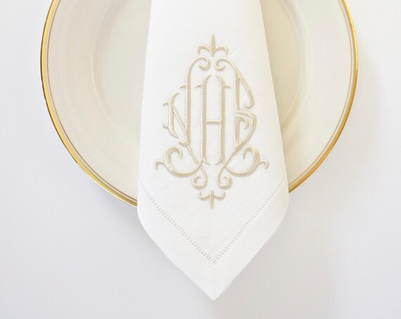 Monogrammed Napkins, ELEGANT FONT Embroidered Custom Cloth Napkins, Towels and Linens
