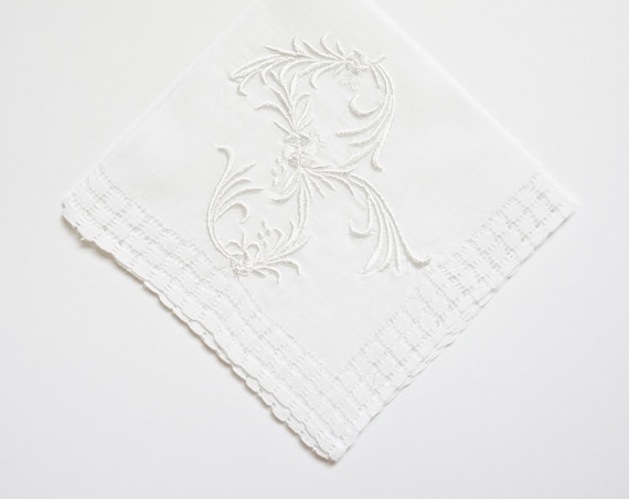 WEDDING font Embroidered Monogrammed Handkerchief, wedding hankie