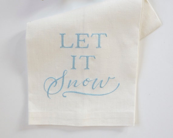 LET IT SNOW towels, Winter towels, Christmas hand towels, Hostess Gift, Kitchen, Bath