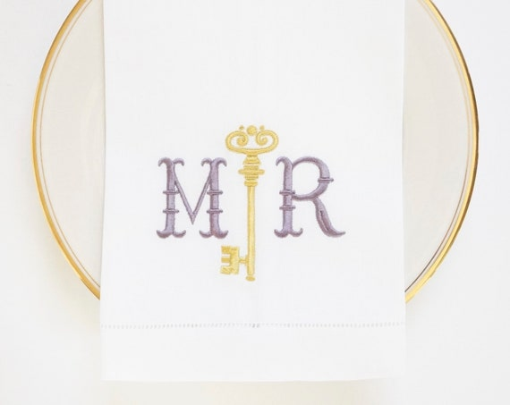 COUPLES KEY MONOGRAM Embroidered Table Linens