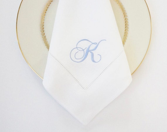 SCRIPT FONT COLLECTION of Monogram Fonts on Embroidered Cloth Dinner Napkins and Guest Hand Towels - Wedding Keepsake or Special Occasions