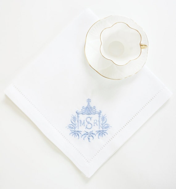 PAGODA II MONOGRAM Frame Embroidered Dinner Napkins, Linen Towels, wedding or hostess gift, bridal shower gift, kitchen towels