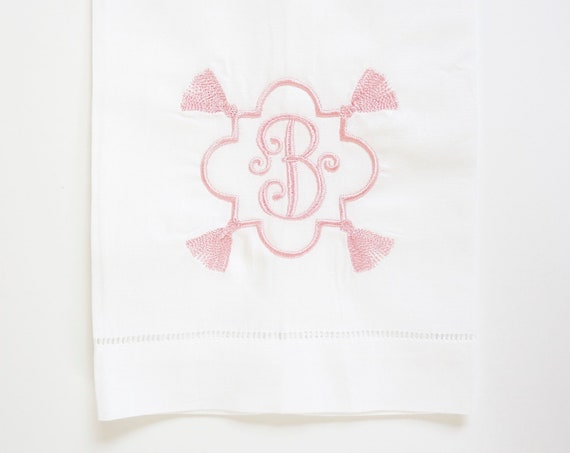 TASSEL FOUR MONOGRAM Embroidered Dinner Napkins, Linen Towels, wedding or hostess gift, bridal shower gift, kitchen towels