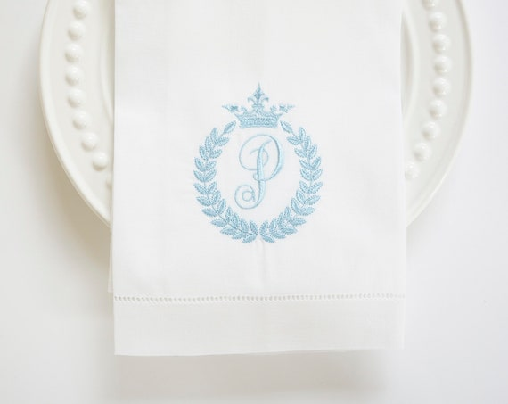 BEE & CROWN No Bee Monogram Embroidered White Dinner Napkins, Linen Towels, wedding or hostess gift, bridal shower gift, kitchen towels