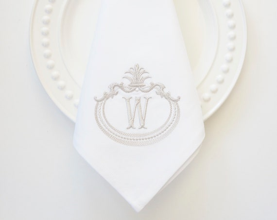 FRENCH ANTIQUE FRAME with Monogram Embroidered Linen Cloth Napkins and Guest Bath Hand Towels - Wedding Keepsake for Special Occasions
