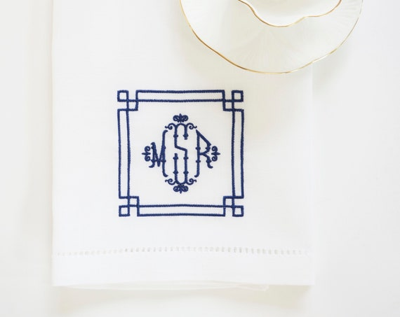 CHIPPENDALE CHINOISERIE CHIC Frame Embroidered Dinner Napkins, Linen Towels, wedding or hostess gift, bridal shower gift, kitchen towels