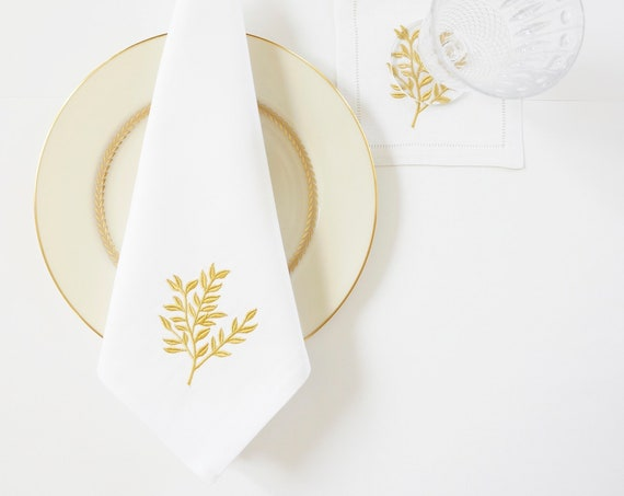 GOLD LEAF Monogram Embroidered Dinner Napkins and Guest Bath Hand Towels - Wedding Keepsake for Special Occasions