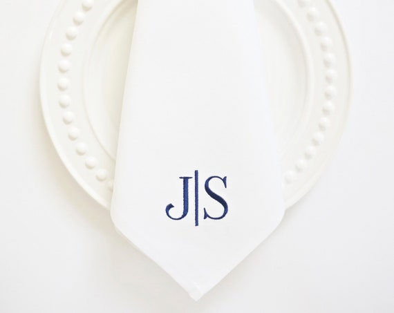 Couples Monogram Style Embroidered Monogrammed Dinner Napkins & Guest Towels, Wedding Keepsake for Special Occasions