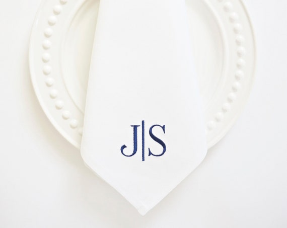 BLOCK LETTER COLLECTION of Monogram Fonts,  Embroidered Napkins and Guest Towels - Wedding Keepsake, Special Occasions