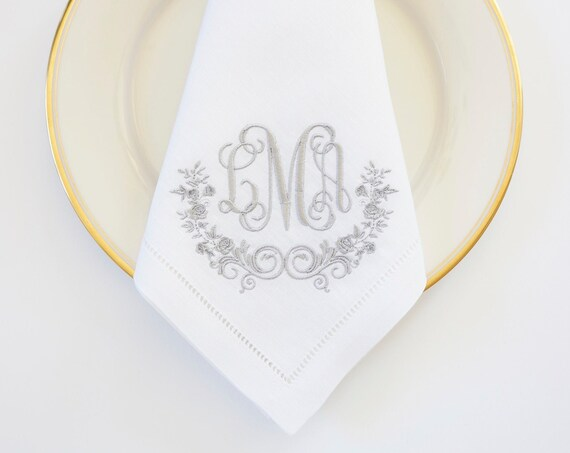 WEDDING ROSE with Scroll II Monogram Design Embroidered Dinner Napkins, Hand Towels - Wedding Keepsake for Special Occasions