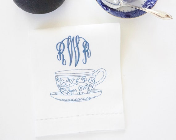 EMBROIDERED TEACUP DESIGN With Hand Writing Monogram font on Fabric Cloth Tea Towels, Housewarming Gift, Shower Gift