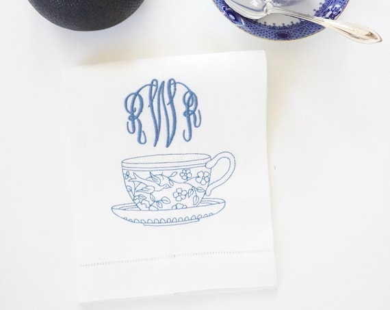 EMBROIDERED TEACUP DESIGN With Monogram on Fabric Cloth Tea Towels, Linen Hemstitched Towels, Housewarming Gift, Shower Gift
