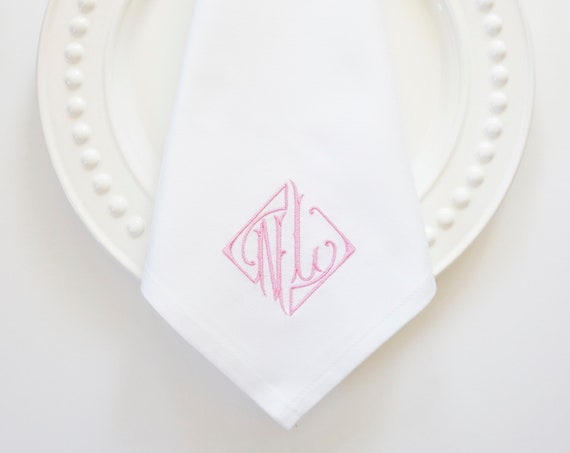 PARISIAN Monogram Embroidered Cloth Linens, Wedding napkins, Couples monogram, towels