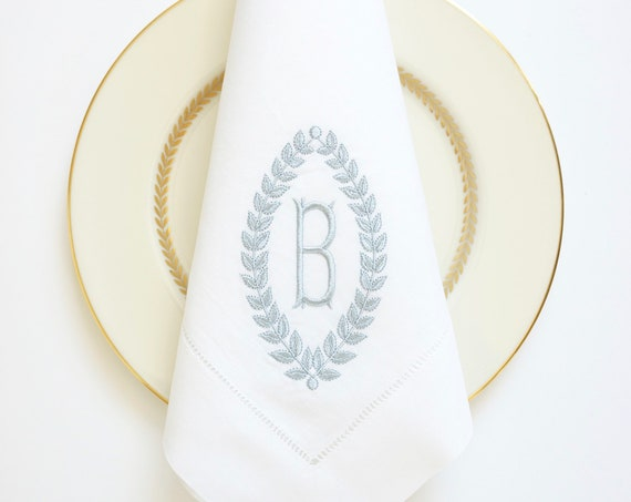 COUPLES WREATH and MONOGRAM with Victorian font in dusty blue monogram, Embroidered Dinner Napkins and Hand Towels