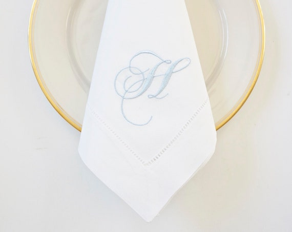 SCRIPT FONT COLLECTION of Monogram Fonts, Gardenia font shown,  Embroidered Napkins and Guest Towels - Wedding Keepsake, Special Occasions