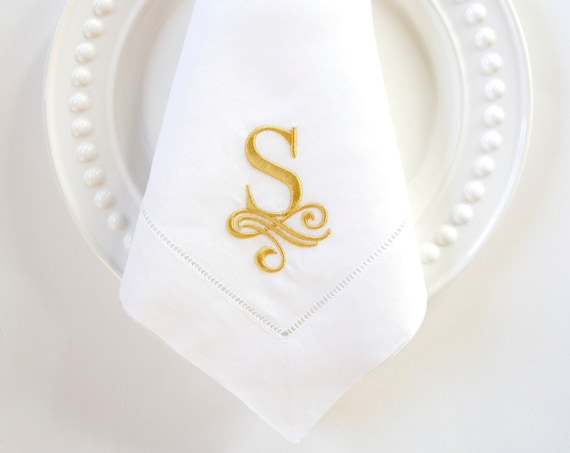 WAVE MONOGRAM Font Embroidered Cloth Dinner Napkins and Linen Towels, Wedding Napkins, Wedding Gift, Family Heirloom