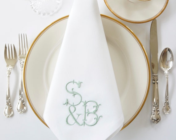 HAND FORGED Monogram Embroidered Dinner Napkins, Linen Towels, wedding or hostess gift, bridal shower gift, kitchen towels