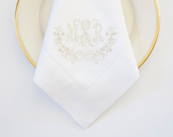 WEDDING ROSE with Scroll II Monogram and Ampersand Embroidered Dinner Napkins, Hand Towels - Wedding Keepsake for Special Occasions