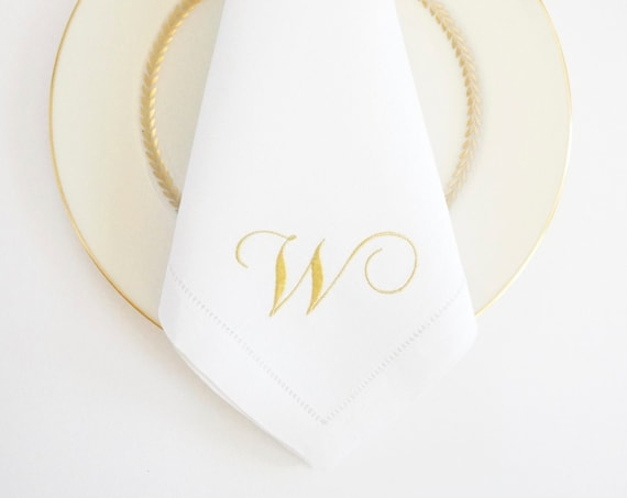 GARDENIA SCRIPT Monogram Embroidered Cloth Dinner Napkins and Guest Hand Towels - Wedding Keepsake for Special Occasions