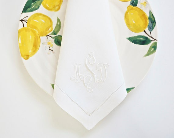 RIBBON Monogram Embroidered on Fabric Cloth Napkins, Towels and Linens, Wedding Napkins