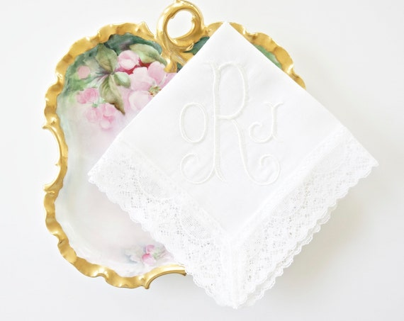 GILDED font Embroidered Monogrammed Handkerchief, Personalized Custom Handkerchief