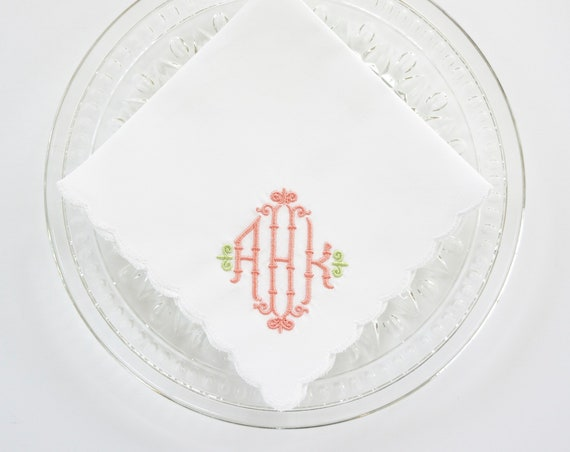 CHIPPENDALE design and font Embroidered Monogrammed Handkerchief, Personalized Custom Handkerchief