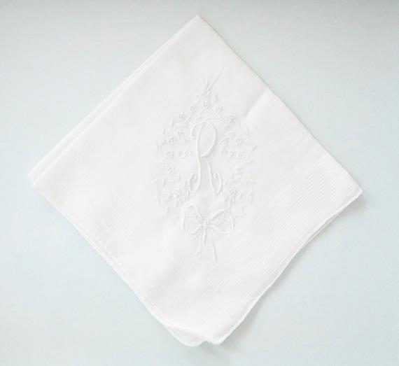 VINTAGE LACE Cotton Handkerchief, Monogram R