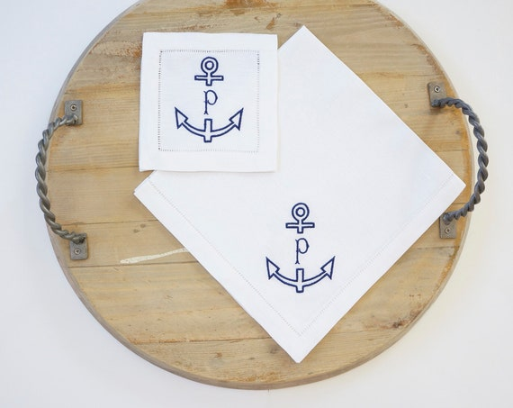 ANCHOR Embroidered Monogram, Nautical Embroidered Napkins, linens, cocktail napkins, towels