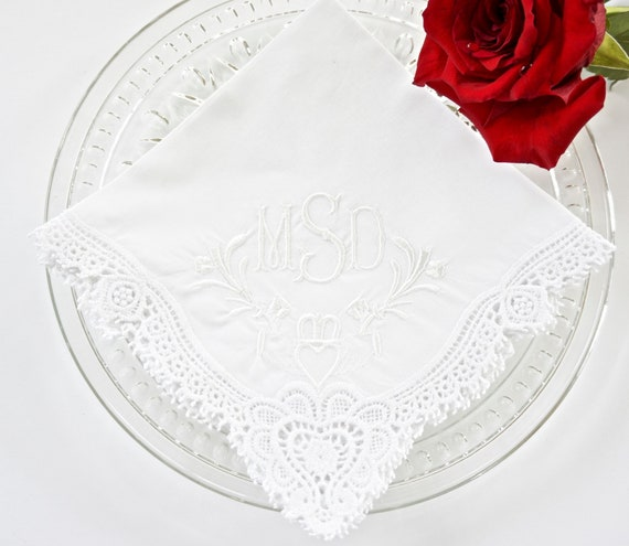 CLADDAGH DESIGN and MONOGRAM Embroidered Handkerchief, Wedding Hankie