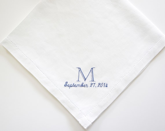MENS BOOKPLATE font Embroidered Monogrammed Handkerchief