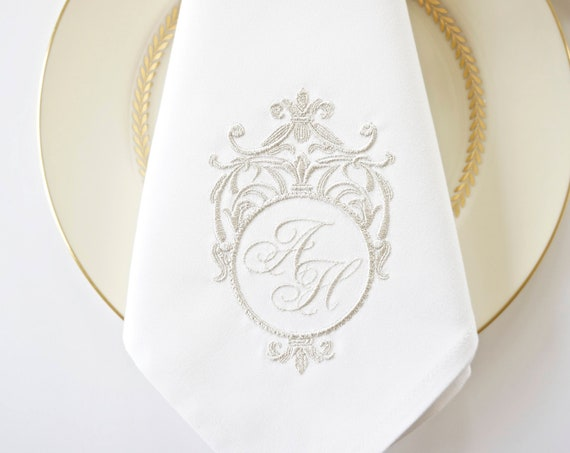 STERLING SILVER FRAME Monogram Design Embroidered Fabric Wedding Napkins, Wedding Keepsake for Special Occasions