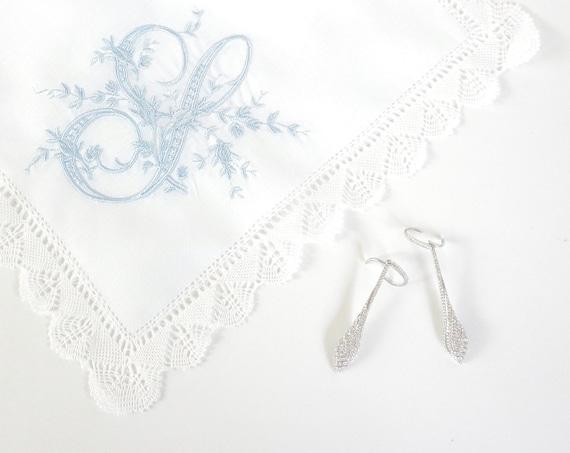 VINTAGE font Embroidered Monogrammed Handkerchief, Personalized Custom Handkerchief, Single Letter Monogram