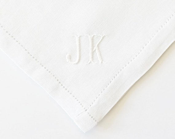 MENS CLASSIC font Embroidered Monogrammed Handkerchief, wedding handkerchief or pocket square, groomsmen gifts, father of bride or groom
