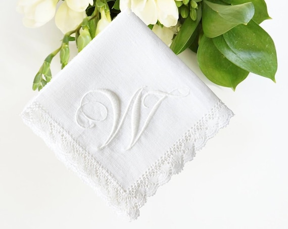 FLOURISH font Embroidered Monogrammed Handkerchief, Wedding Hankie