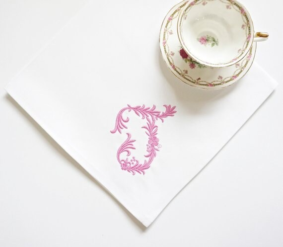 Braided Monogram Embroidered Dinner Napkins & Guest Hand Towels, Table Linens - Wedding Keepsake for Special Occasions