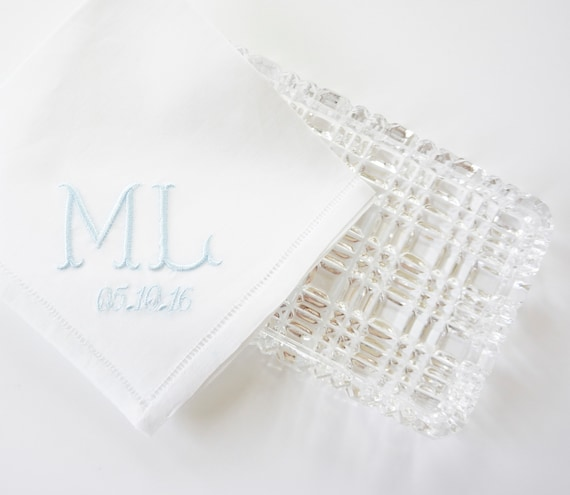 FISHTAIL I font Embroidered Monogrammed Handkerchief, Personalized Custom Handkerchief
