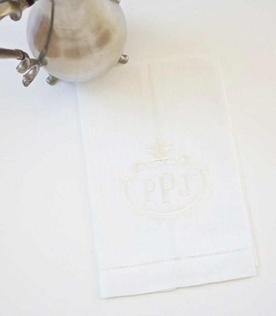 FRENCH ANTIQUE FRAME with Monogram Embroidered Fabric Cloth Cotton or Linen Dinner Napkins, Hand Towels -  for Special Occasions