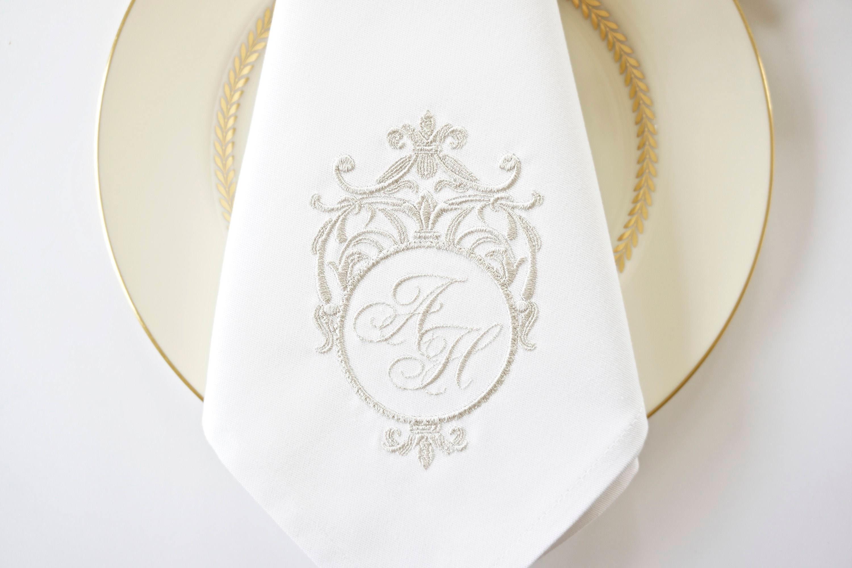 Sterling Silver Frame Monogram Design Embroidered Fabric Wedding Napkins Wedding Keepsake For Special Occasions