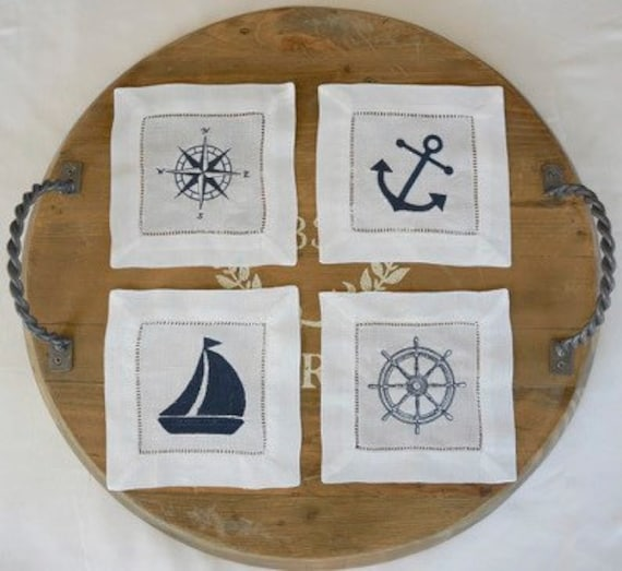 Sailboat, Anchor, Compass, Wheel, Embroidered Monogram, Nautical Embroidered Napkins, linens, cocktail napkins, towels