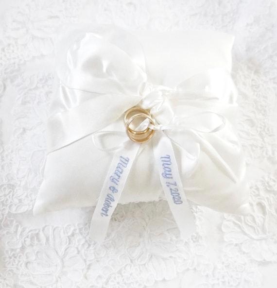 Custom Embroidered Ring Bearer Pillow in Off White Satin
