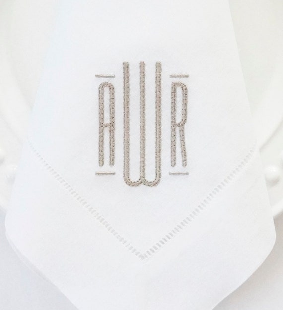 MODERN SOPHISTICATE MONOGRAM, Embroidered Custom Cloth Napkins, Table Linens and Towels, Wedding Receptions, Personalized napkins